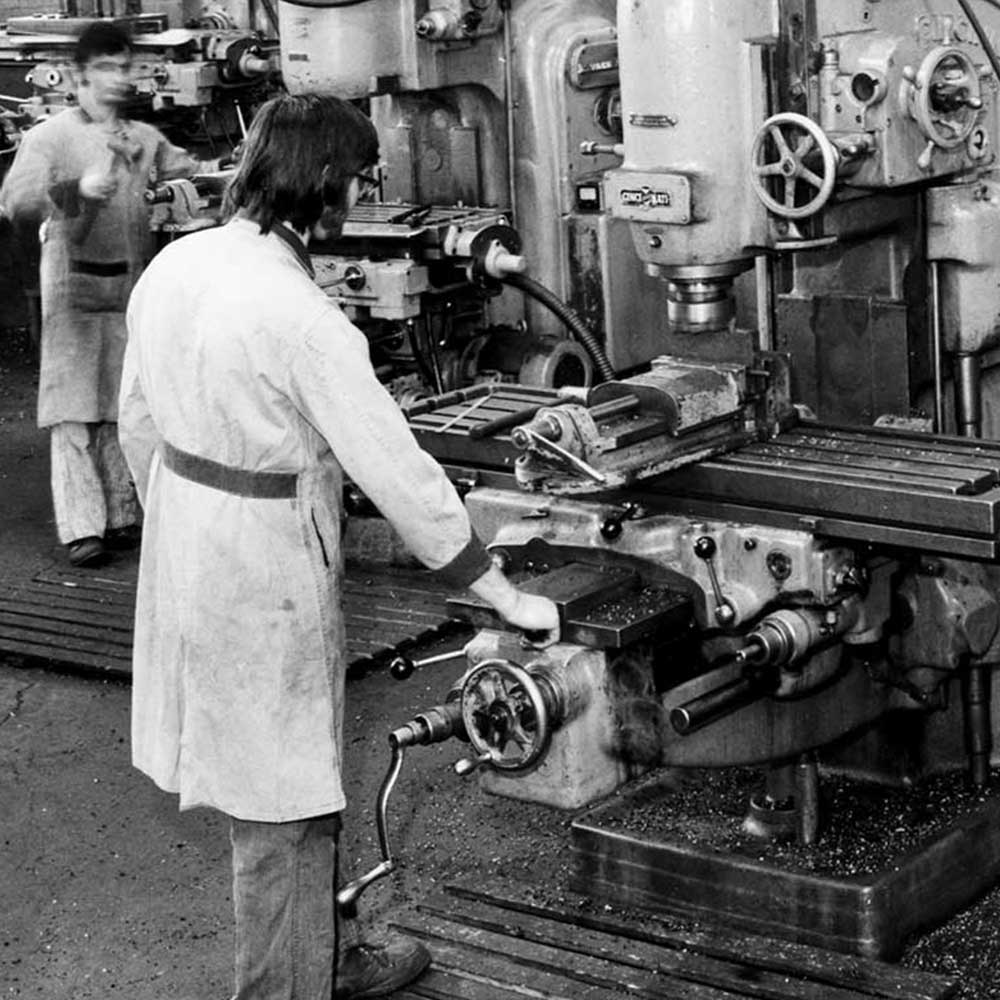 Valiant TMS machinist working on boring mill in the 1960's