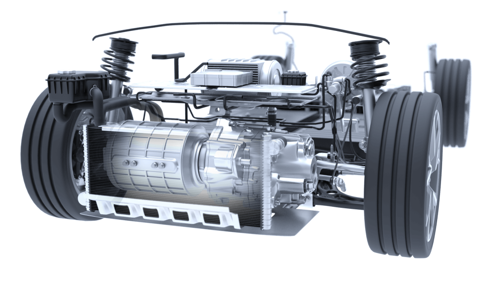 Electric Vehicle Propulsion System Translucent 3D Image Iso